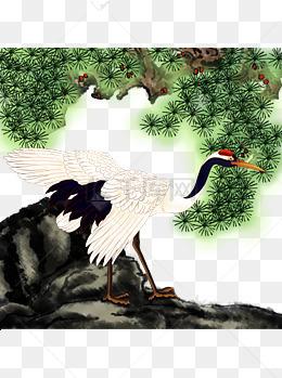 中国风手绘仙鹤可商用插画素材