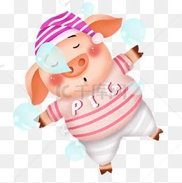 可爱卡通手绘小猪睡觉冒泡泡形象图片