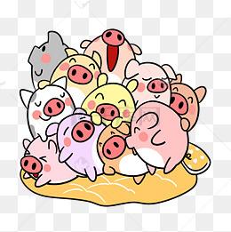 卡通小猪睡觉玩耍png透明底图片