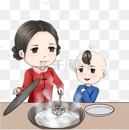 新年包饺子温馨场景手绘卡通人物包饺子煮饺子场景图片