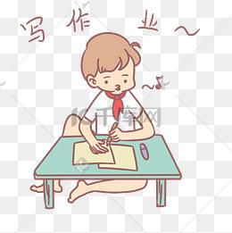 小学生开学表情包写作业人物插画图片