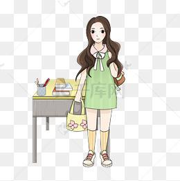开学季主题可爱女学生卡通人物图片