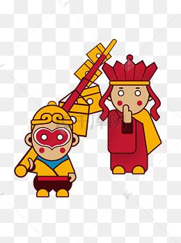 手绘中国古代神话传说西游记孙悟空大闹蟠桃园