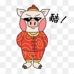 吉祥物金猪戒指吃表情插画的饺子接受表情包图片