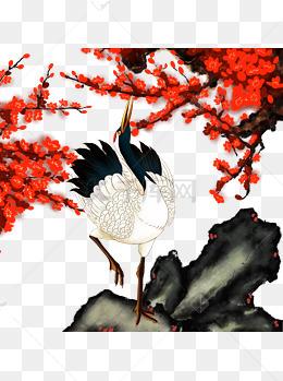 中国风手绘仙鹤可商用插画ps分层素材