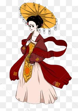 中国风卡通手绘杨贵妃图片
