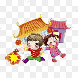 中国风小孩放烟花