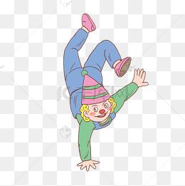 万圣节扮演小丑倒立手绘卡通图片