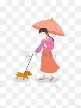 小女孩遛狗手绘矢量图