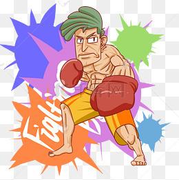 拳击人物手绘卡通插画图片