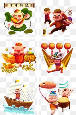春节猪年画画图片手绘