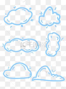 简约线条手绘云朵白云边框素材可商用元素