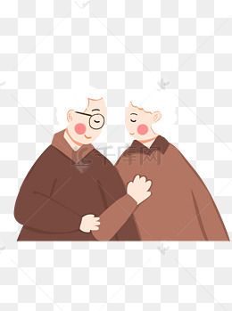 手绘关爱老人重阳节老人老夫妻可商用元素图片