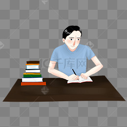 努力学习工作勤奋书桌写作业学生手绘卡通人物图片