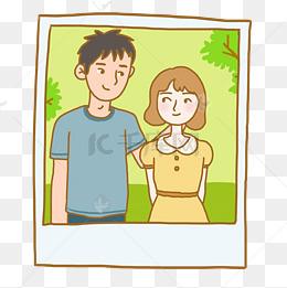 相片情人节手绘卡通相片情侣元素下载图片