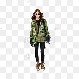 女士时尚迷彩服_时装图片-时装素材图片-时装素材图片免费下载-千库网png-第2页