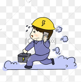 手绘卡通电力抢修工人图片