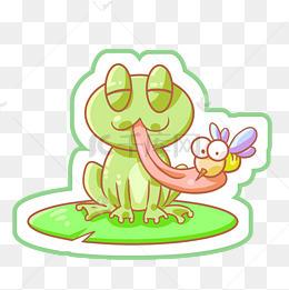 荷叶青蛙卡通插画图片