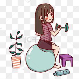 健身运动的女孩手绘插画图片