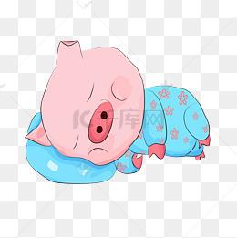 世界睡眠日粉色卡通睡觉的猪图片