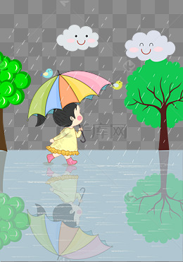手绘雨中奔跑的小女孩矢量图