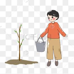 卡通女孩植树节插画图片