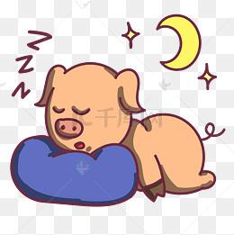 蓝色枕头睡觉小猪图片