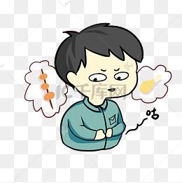饥饿眼馋表情插画图片