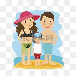手绘卡通海边全家游玩出行