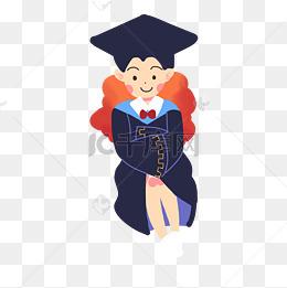 毕业季女生学士服人物图片