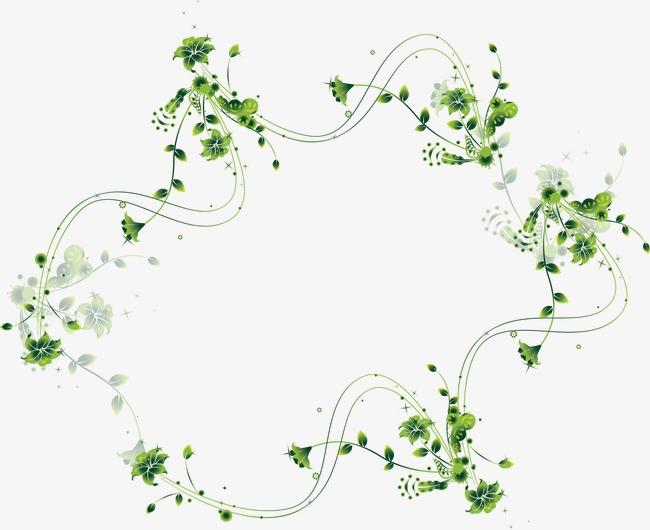 绿色藤蔓植物边框