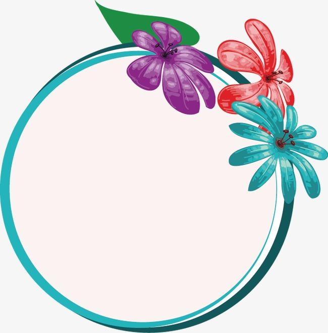 边框对话框手绘花卉标签矢量素材手绘花卉标签模板
