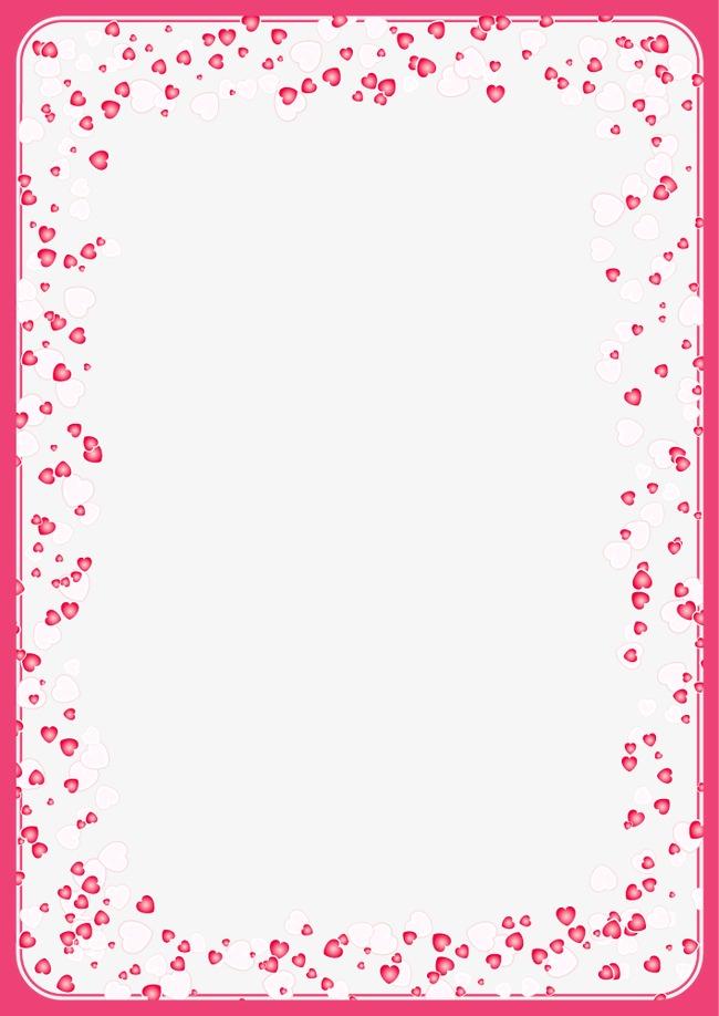 粉红色心形边框【高清边框纹理png素材】-90设计