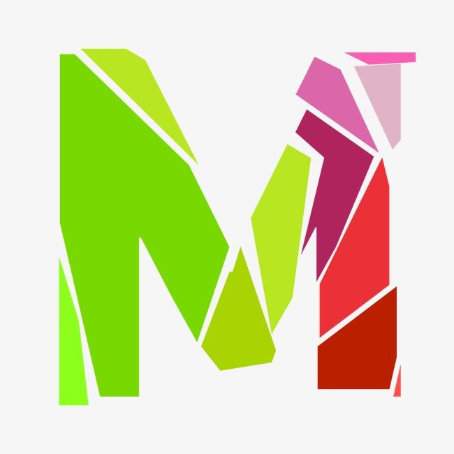 动感破裂字母M 艺术字设计 千库网图片