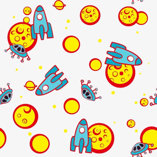卡通手绘火箭星球底纹