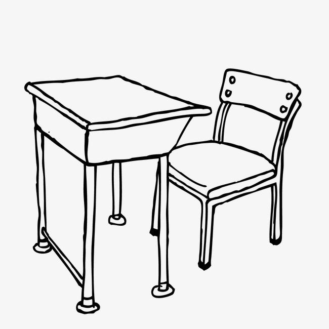 学习用品手绘画简笔画学习用品桌椅课桌-手绘学习用品素材图片免费