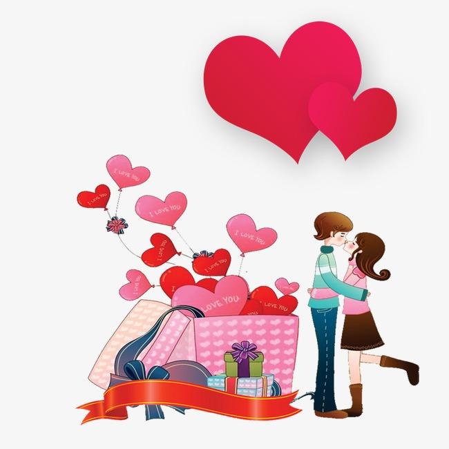 卡通情侣气球爱心心形七夕素材点缀装饰七夕情人节约