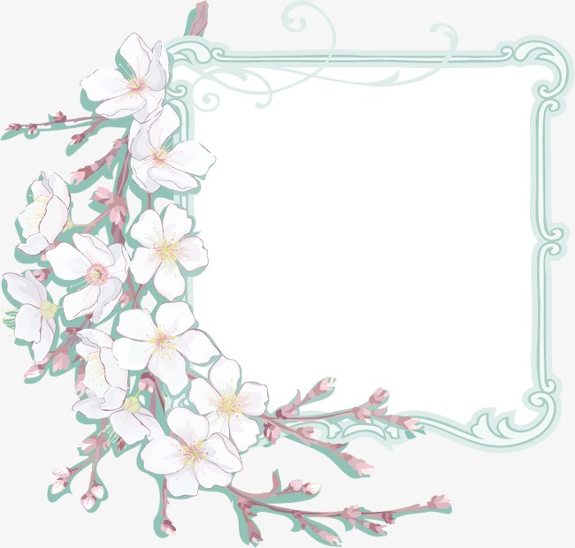 白色小花边框