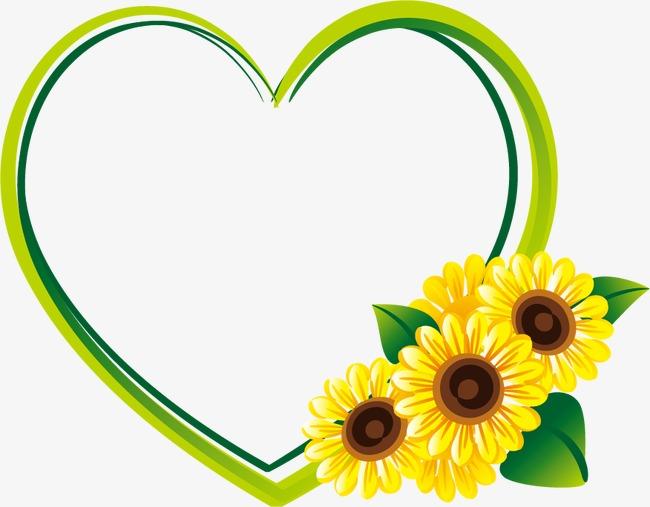 心形边框向日葵