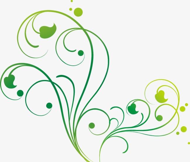 手绘线条绿叶蔓藤