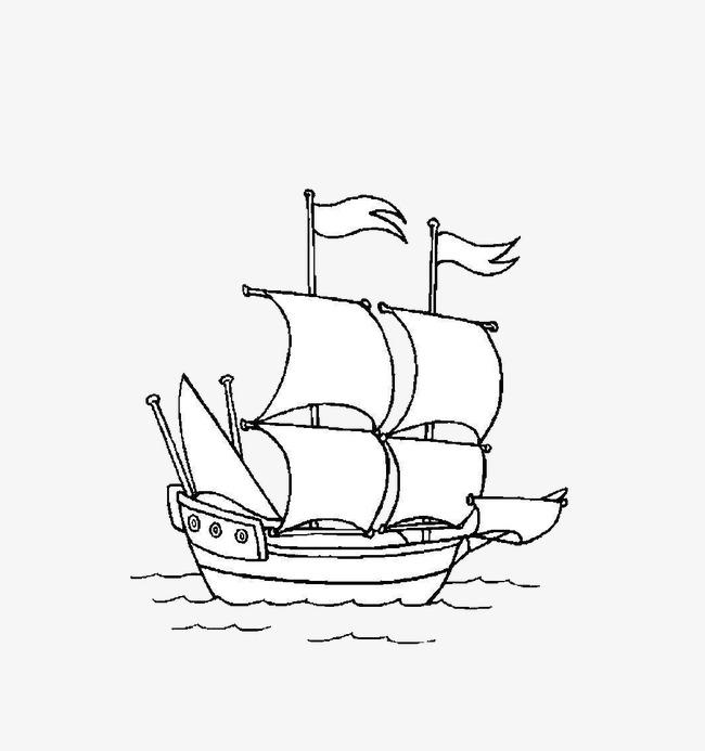 简笔手绘轮船png素材-90设计图片