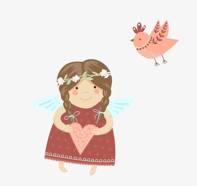 可爱天使女孩和小鸟矢量素材