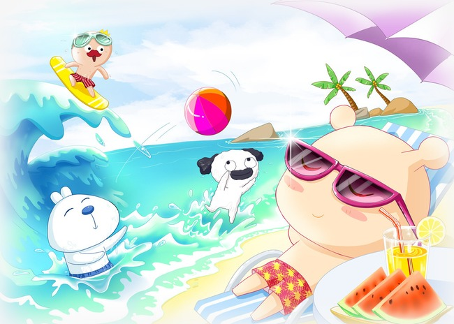 卡通动物海滩