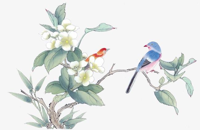 桃树叶工笔画