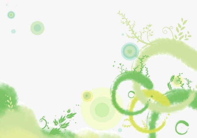 绿色系水墨晕染墨迹