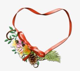 心形丝带花朵