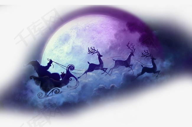 圣诞节圣诞月亮背景透明元素素材