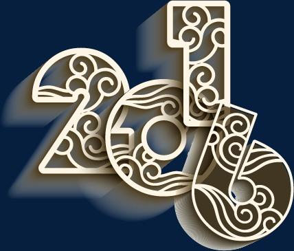 设计元素 字体效果 中文字体 > 2016新年立体镂空