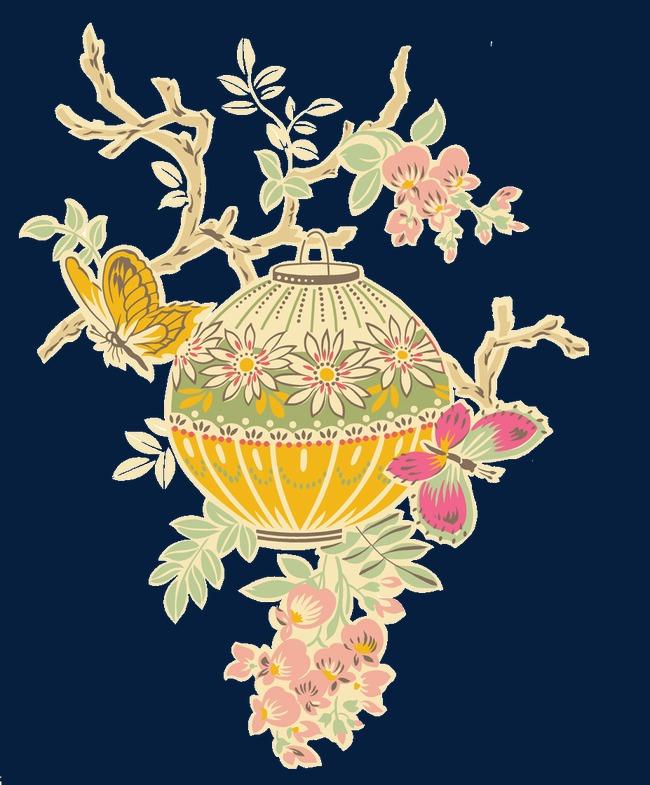 中国风水彩画灯笼