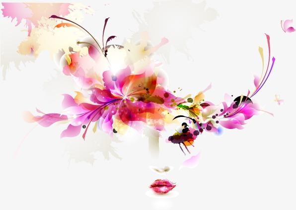 手绘水彩头像花卉花纹淡彩美女女子矢量图工笔淡彩淡彩插画淡彩人物淡